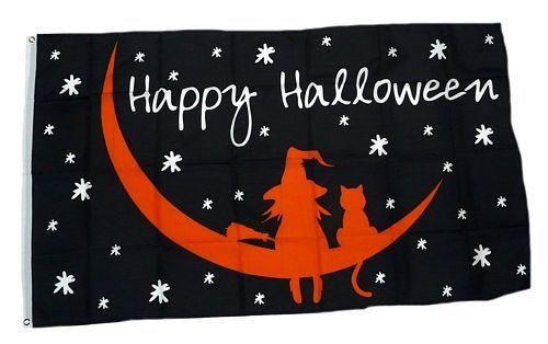 Fahne / Flagge Happy Halloween Mond 90 x 150 cm