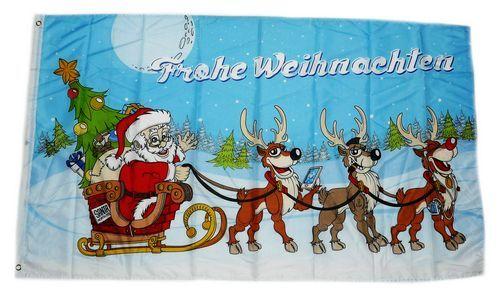 Fahne / Flagge Frohe Weihnachten Santa 90 x 150 cm