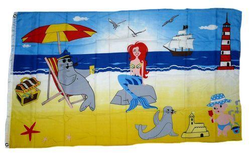 Fahne / Flagge Meerjungfrau Strand 90 x 150 cm