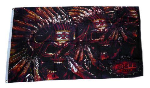Fahne / Flagge Totenkopf Indianer Skull 90 x 150 cm