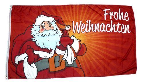 Fahne / Flagge Frohe Weihnachten Weihnachtsmann rot NEU 90 x 150 cm