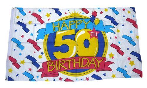 Fahne Geburtstag Happy Birthday 90 x 150 cm Flagge 50