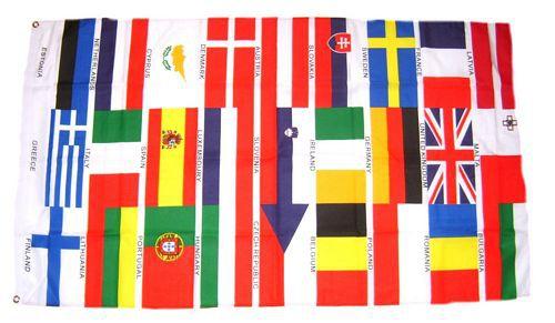 Flagge / Fahne Europa 27 Länder quer Hissflagge 90 x 150 cm
