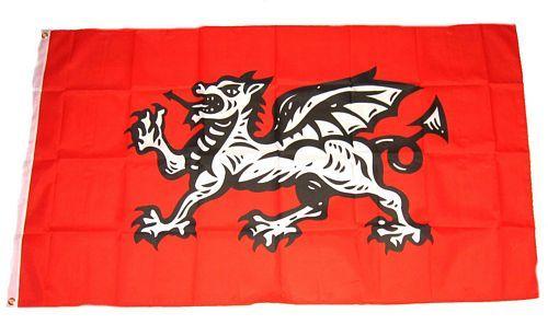 Fahne / Flagge England weißer Drache 90 x 150 cm