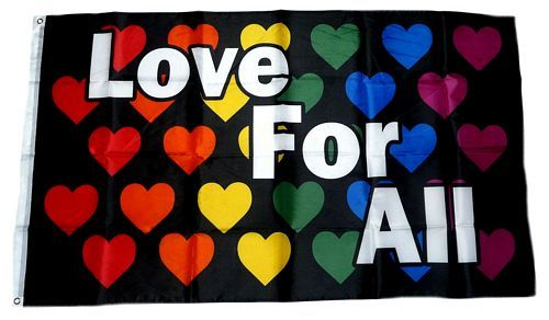Fahne / Flagge Love for all Herzen 90 x 150 cm