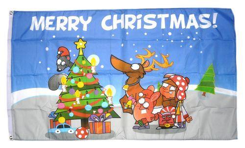Fahne / Flagge Merry Christmas Elch 90 x 150 cm