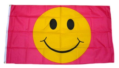Fahne / Flagge Smile Smiley Pink 90 x 150 cm