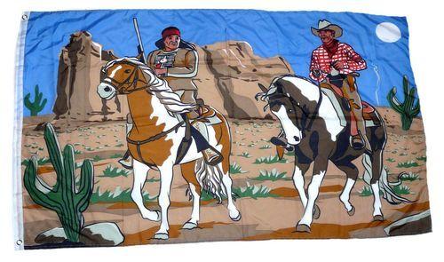 Fahne / Flagge Cowboy & Indianer 90 x 150 cm
