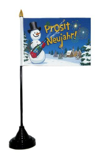Tischfahne Prosit Neujahr Silvester NEU 11 x 16 cm Flagge Fahne