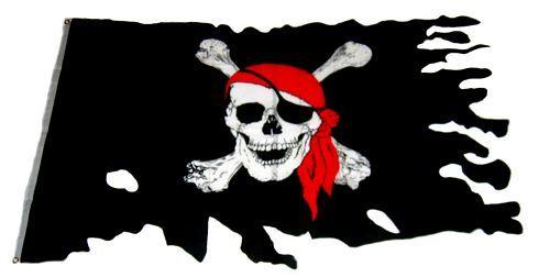 Fahne / Flagge Pirat Totenkopf Fransen 90 x 150 cm