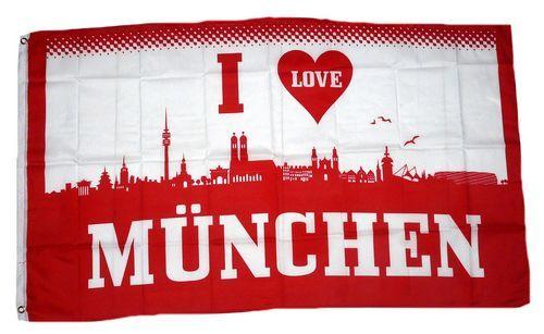 Fahne / Flagge I Love München 90 x 150 cm