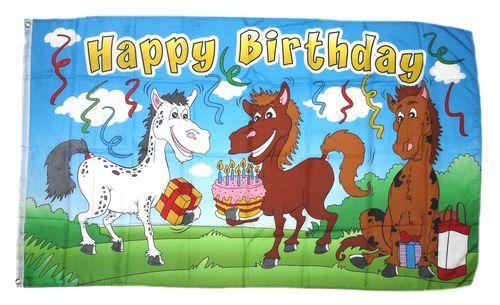 Fahne / Flagge Happy Birthday Pferde 90 x 150 cm