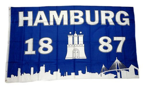 Fahne / Flagge Hamburg 1887 Silhouette 90 x 150 cm