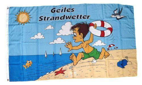 Fahne / Flagge Geiles Strandwetter 90 x 150 cm