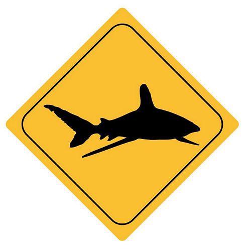 Aufkleber Sticker Achtung Hai Autoaufkleber