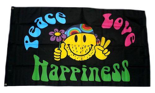 Fahne / Flagge Peace Love Happiness 90 x 150 cm