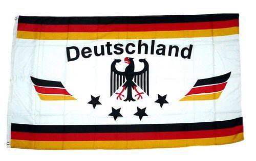Fahne / Flagge Deutschland Fußball 4 Sterne weiß 90 x 150 cm