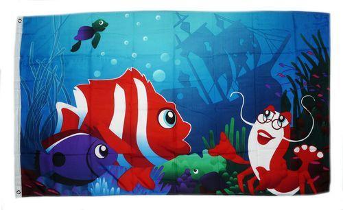 Fahne / Flagge Unterwasserwelt Fische 90 x 150 cm