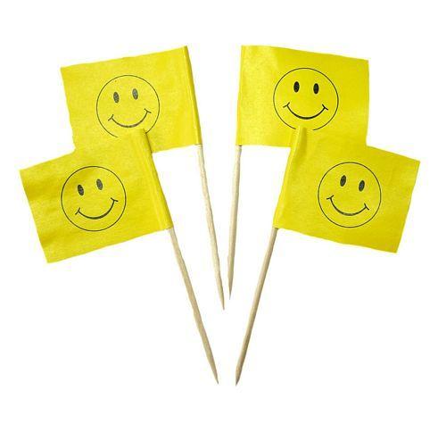 50 Minifahnen Dekopicker Smile 30 x 40 mm