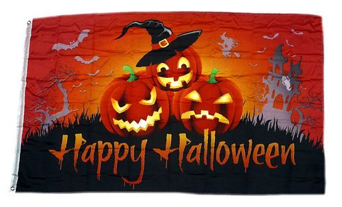 Fahne / Flagge Happy Halloween Kürbis Hexe 60 x 90 cm