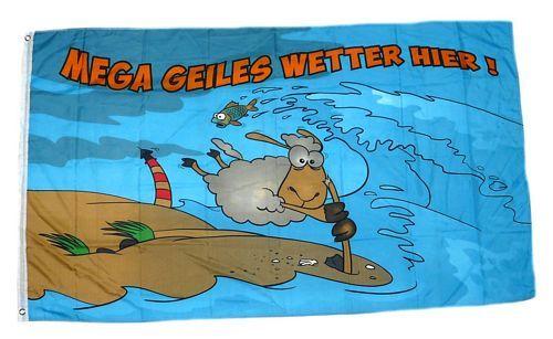 Fahne / Flagge Mega geiles Wetter Schaf 90 x 150 cm
