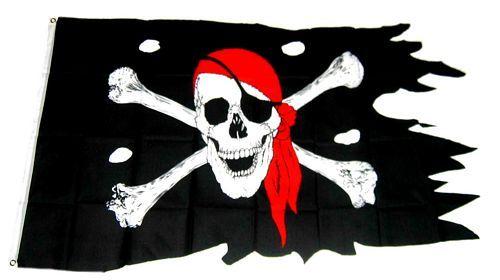Fahne / Flagge Pirat mit Kopftuch Fransen 90 x 150 cm