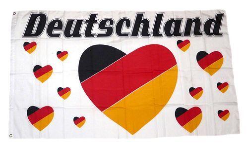Fahne / Flagge Deutschland Herz 90 x 150 cm
