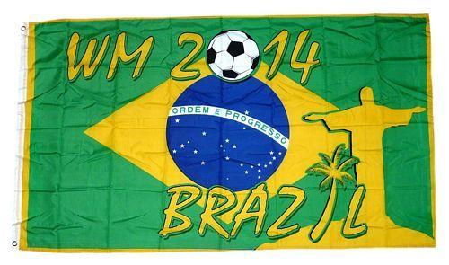 Fahne / Flagge Brasilien WM 2014 Fußball 90 x 150 cm