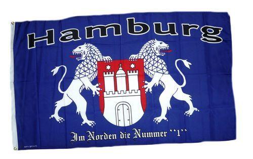 Fahne / Flagge Hamburg Nummer 1 im Norden 90 x 150 cm