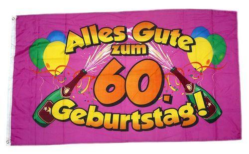 Fahne / Flagge Alles Gute zum 60. Geburtstag 90 x 150 cm