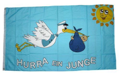 Fahne / Flagge Hurra ein Junge 90 x 150 cm