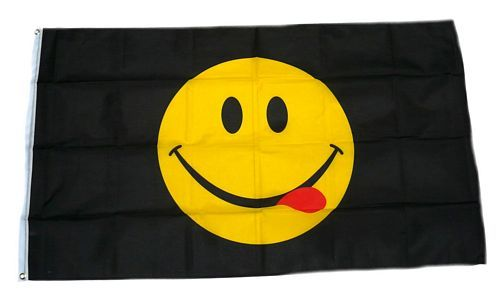 Fahne / Flagge Smile Smiley Schwarz 90 x 150 cm