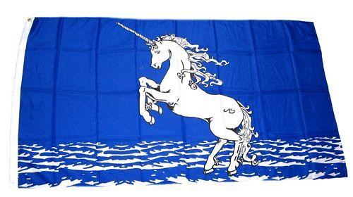 Fahne / Flagge Einhorn blau 90 x 150 cm