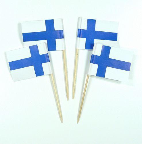 50 Minifahnen Dekopicker Finnland 30 x 40 mm