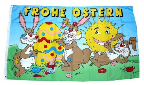 Fahne / Flagge Frohe Ostern Sonne 90 x 150 cm