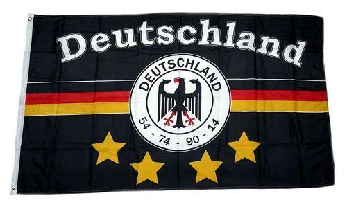 Fahne / Flagge Deutschland Fußball 4 Sterne schwarz 90 x 150 cm