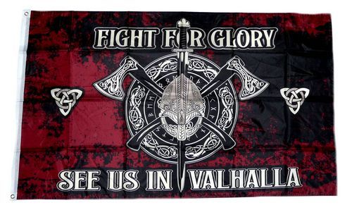 Fahne / Flagge Wikinger Fight for Glory Valhalla 90 x 150 cm