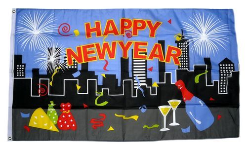 Fahne / Flagge Happy New Year City 90 x 150 cm