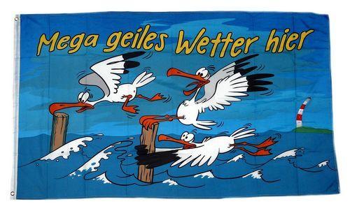Fahne / Flagge Geiles Wetter hier Möwe 90 x 150 cm