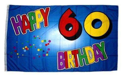 Fahne / Flagge 60. Geburtstag Happy Birthday 90 x 150 cm