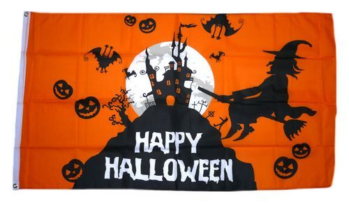 Fahne / Flagge Happy Halloween Schloß 90 x 150 cm