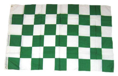 Fahne / Flagge Karo grün / weiß 90 x 150 cm