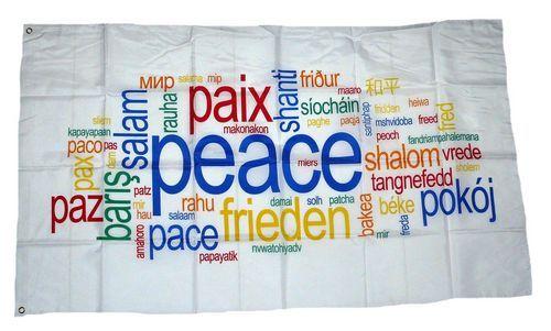 Fahne / Flagge Peace Schriften 90 x 150 cm