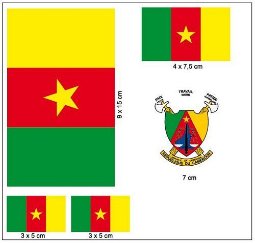 Fahnen Aufkleber Set Kamerun