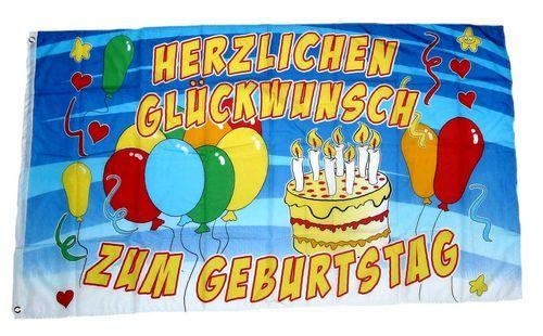 Fahne / Flagge Herzlichen Glückwunsch zum Geburtstag 90 x 150 cm