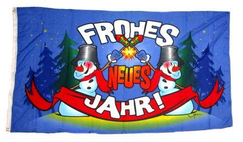 Fahne / Flagge Frohes Neues Jahr Silvester 60 x 90 cm