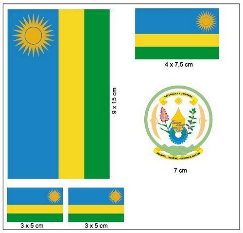 Fahnen Aufkleber Set Ruanda
