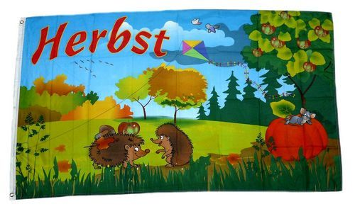 Fahne / Flagge Herbst Igel 60 x 90 cm