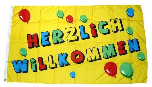 Fahne / Flagge Herzlich Willkommen 90 x 150 cm