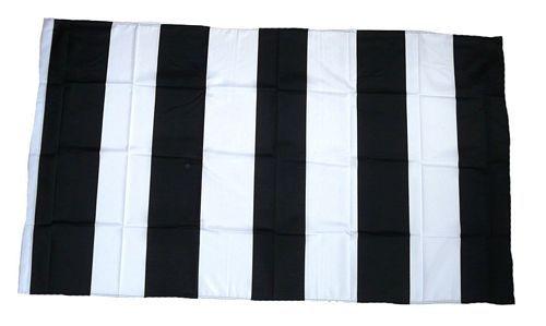 Fahne / Flagge schwarz / weiß Streifen 90 x 150 cm